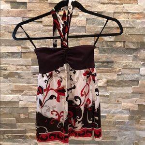 BEBE: multicolor silk halter top. Size XS